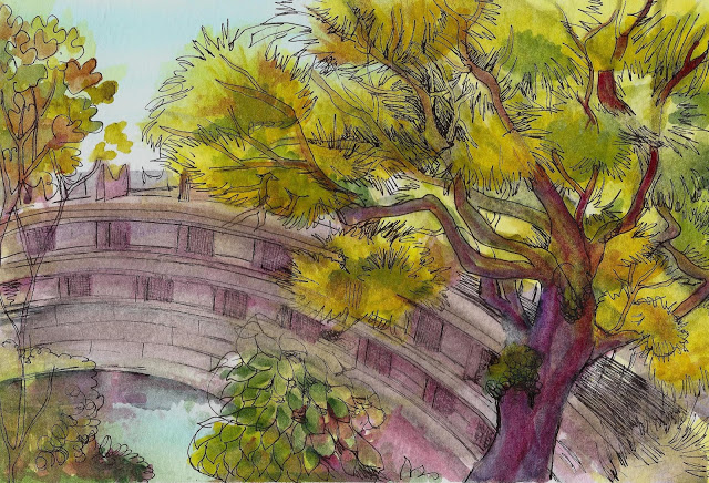 oregon park designed to resemble a japanese garden complete with bridge and beautiful plants that bridge though bridges are hard to draw
