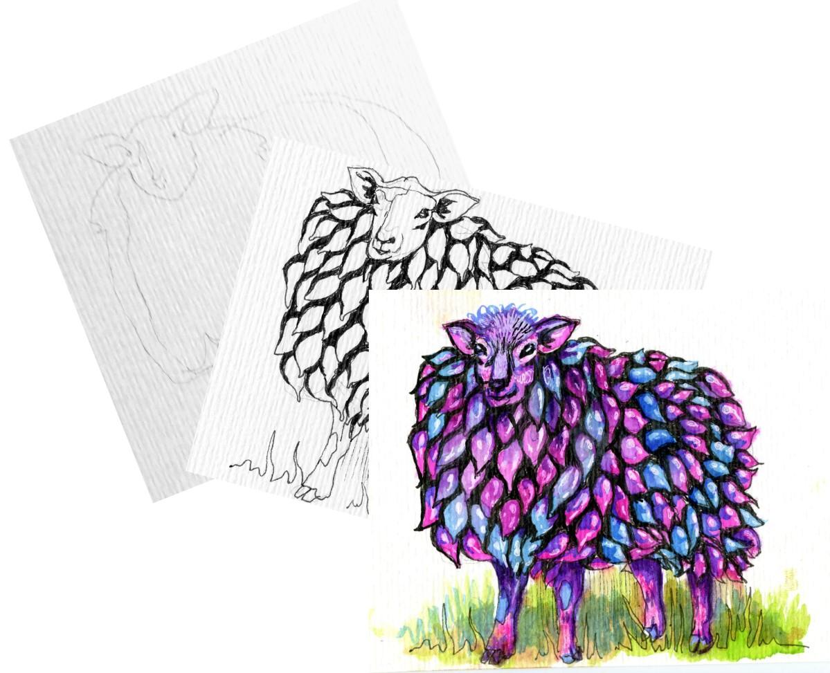 Bubble-wrap Sheep – Pencil toPaint