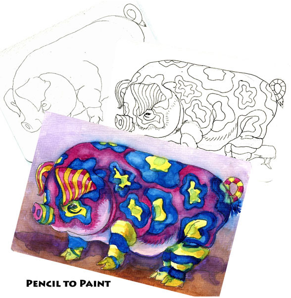 Alebrije Pig – Pencil to Paint