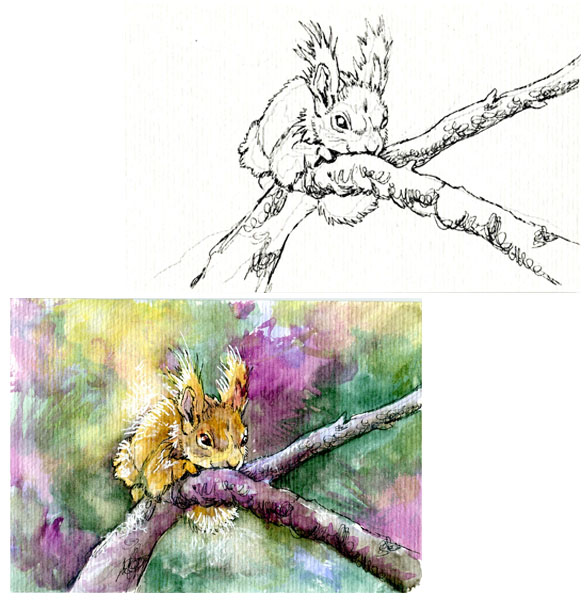 Wild Squirrel for Inktober – Pencil to Paint Tutorial