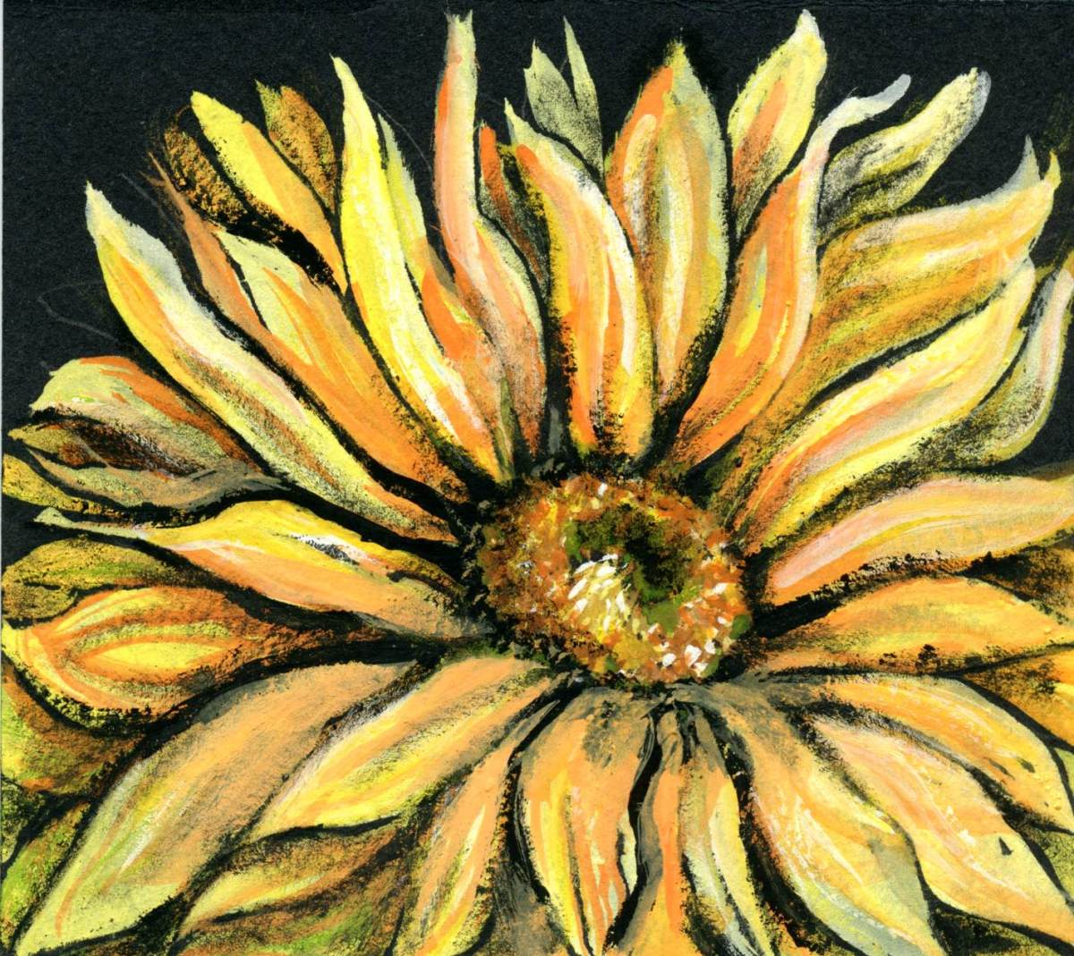 Sunflower – Gouache on Gouache